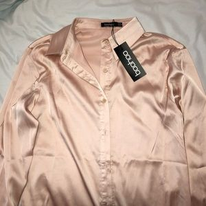 Boohoo soft pink satin shirt 🌸